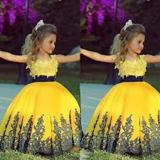 ful yellow ball gown floor length pageant gowns for little girls