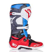 motocross boots alpinestars alpinestars limited edition bomber tech 10 mx boots red blue grey