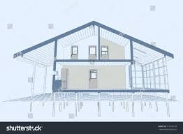 authors design residential frame house terrace stock vector