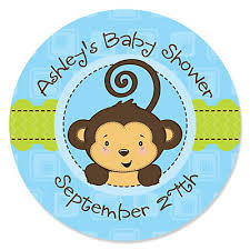 baby shower monkey blue monkey boy personalized baby shower sticker labels 24 ct