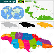 Jamaica Map Map Of Jamaica With The Parishes The Capital Cities Royalty Free