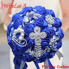 wedding flowers royal blue luxury royal blue ribbon tassel diamond wedding bridal bouquets