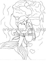 hand drawn mermaid mythical coloring page coloring wings moon