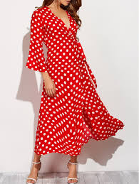bell sleeve polka dot maxi wrap dress in red with white m