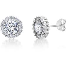 cubic zirconia stud earrings lesa michele cubic zirconia stud earrings in sterling silver