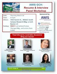 resume and interview workshop awis gulf coast houston