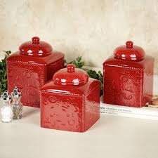 Silver Kitchen Canisters by 28 Red Kitchen Canisters Set Savannah Red Kitchen Canister