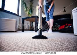 Vaccumming Woman Vacuuming Carpet Living Room Focus Stock Photo 600452600