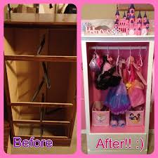 cabinet for little girls dress up clothes made from an old dresser