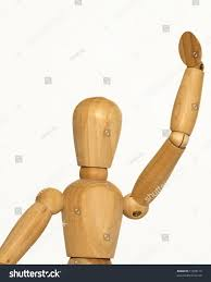 wooden artist mannequin wooden artist mannequin arm raised waving stock photo 11588119