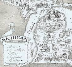 A Map Of Michigan by Vintage Map Of Michigan Michigan Map
