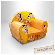 Toddlers Armchair Zebra Yellow Animal Childrens Kids Comfy Foam Chair Toddlers