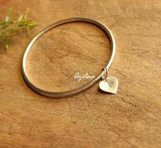 bangle bracelet with heart images A initial sterling silver handmade heart charm bangle bracelet jpg