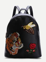 black animal embroidered pu backpack shein sheinside