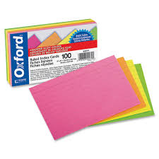 oxford glow ruled index card 3 x 5 inches color pack