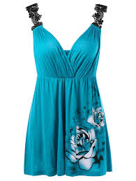 lace shoulder empire waist floral tank top peacock blue xl in