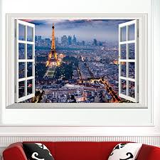 Paris Home Decor Accessories Boodecal Eiffel Tower In Paris Romantic Scenery 3d Fake Window
