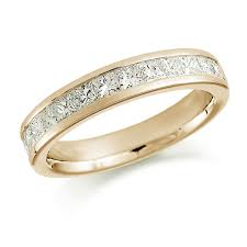 half eternity ring 18ct yellow gold 1 00ct princess cut channel set half eternity