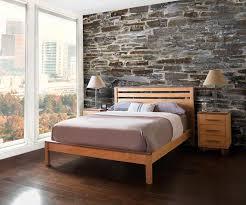 skyline panel platform bed natural solid wood bedroom furniture