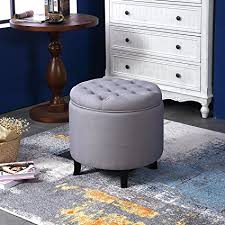 round tufted coffee table amazon com belleze nailhead round tufted storage ottoman large