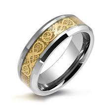 mens rings for sale tungsten celtic gold plated inlay unisex wedding band