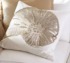 Pottery Barn Decorative Pillows Sequin Coastal Embroidered Pillow Covers Pottery Barn