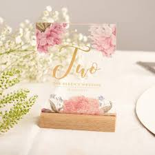 wedding table numbers personalised floral gold acrylic wedding table numbers