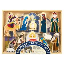 melissa u0026 doug classic wooden christmas nativity set with 4 piece