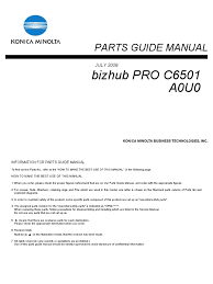 konica minolta c6501 parts guide manual