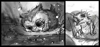compost mentis baby owl and baby dragon sketches