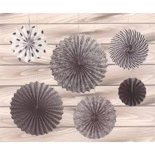 black and white paper fans set of 6