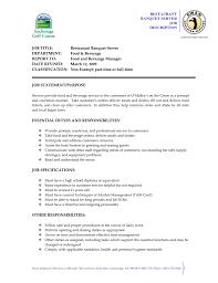Host Job Description Resume by Job Catering Job Description For Resume