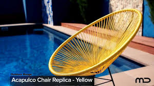 Acapulco Chair Replica Acapulco Lounge Chair Replica Outdoor Wicker Yellow Milan