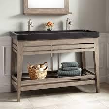 Trough Sink Bathroom Vanity Aurelia Vanity With Black Granite Trough Sink Gray Wash Bathroom