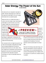 solar energy the power of the sun super teacher worksheets