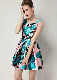 fit and flare dress beautiful refreshing print high waist fit and flare dress