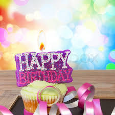 happy birthday candle one birthday cupcake with burning happy birthday candle and