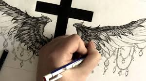 tattoo cross with wings drawing youtube