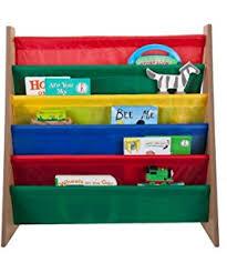 Fabric Sling Bookshelf Amazon Com Sorbus Kids Bookshelf Bright Primary Color Pockets