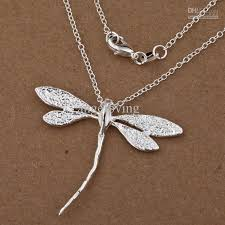 large silver necklace pendants images Wholesale fashion jewelry 925 silver dragonfly charms pendant jpg