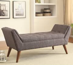 Tufted Living Room Furniture by Gray Fabric Tufted Bench With Wooden Legs For Living Room With