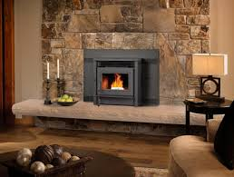 contemporary living room with pellet stove insert and stone