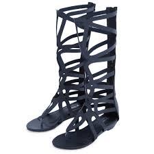 womens roman flip flops zip wedge heel knee high boots sandals