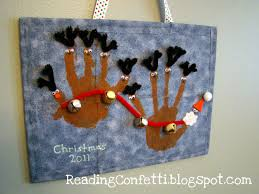santa and reindeer hand prints reading confetti