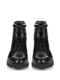 mens lace up motorcycle boots balenciaga ice trekker leather boots in black for men lyst