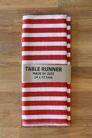 and red striped burlap table runner 14x72