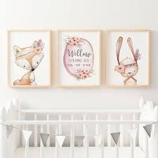baby girls floral woodland nursery or bedroom wall art decor baby girls floral woodland nursery or bedroom wall art decor print set personalised