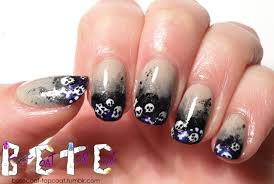 skulls nail art ombre gothic gradient nails skull nails