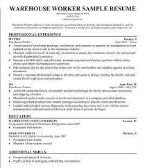sample resumes for warehouse workers warehouse worker cover