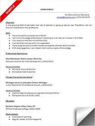 Child Development Resume Toddler Teacher Resume Best Resume Collection
